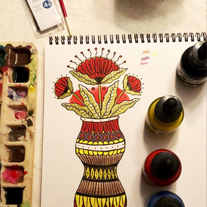 Gather Illustration Pete Reynolds Tattoo Study Flower