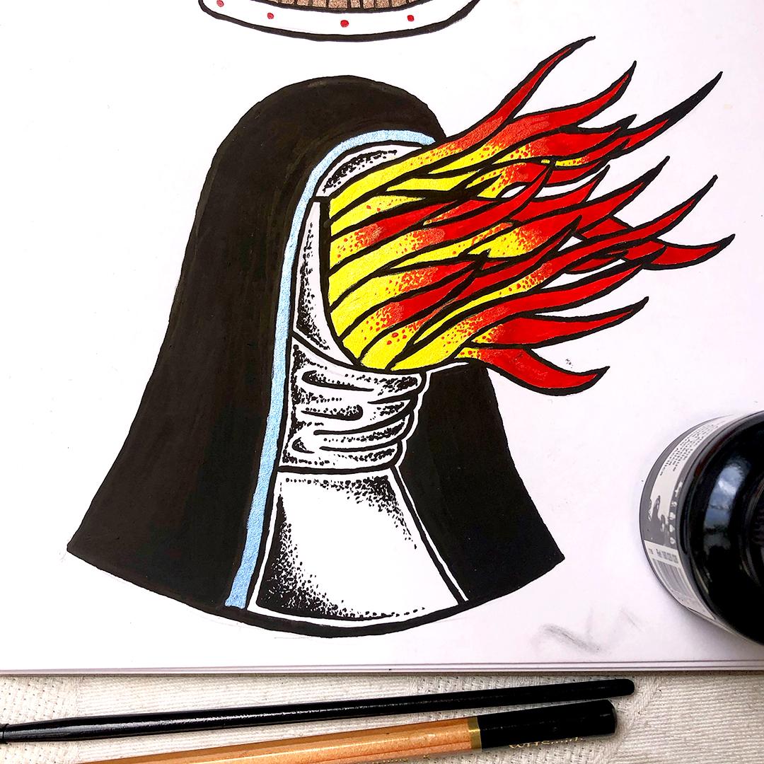 Gather Illustration Pete Reynolds Tattoo Study Full of Hell Trumpeting Ecstasy Nun
